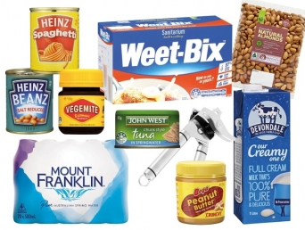 Image of non-perishable pantry items like tinned spaghetti, baked beans, canned tuna, weet-bix, long-life milk, vegemite, peanut butter, nuts and bottled water.