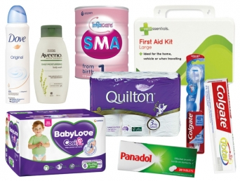 Image of toiletries like deodorant, moisturizer, paracetamol, toothpaste, toothbrushes, toilet paper, nappies, baby formula and first aid kit